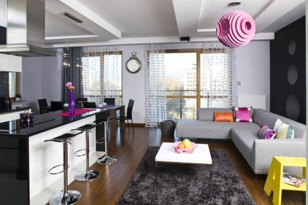 интерьер кухни студии с барной стойкой фото