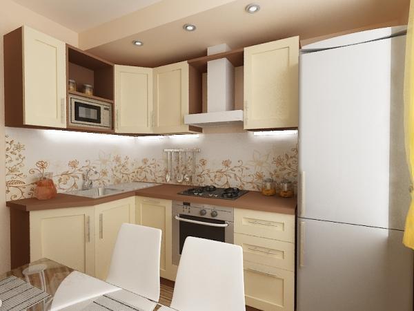 кухня в хрущевке 4 кв.м с холодильником фото