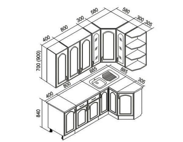 схема угловой кухни с размерами фото
