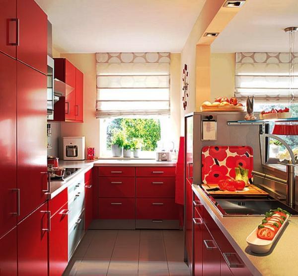 шторы на кухню фото 2019 современные короткие к красной кухне