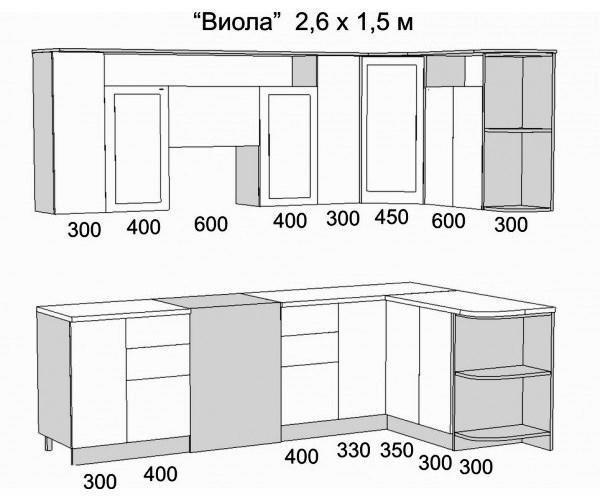 угловая кухня схема чертеж