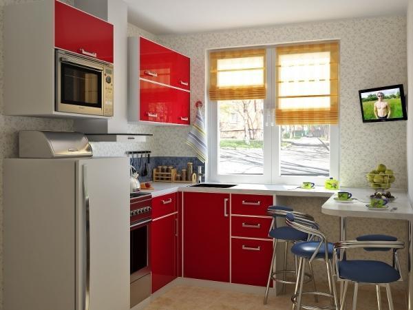 Дизайн кухни 5.5 метров с холодильником, фото