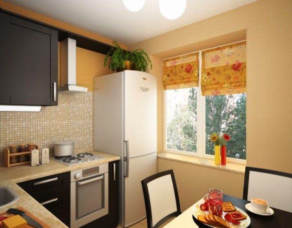 Дизайн кухни в хрущевке с холодильником фото