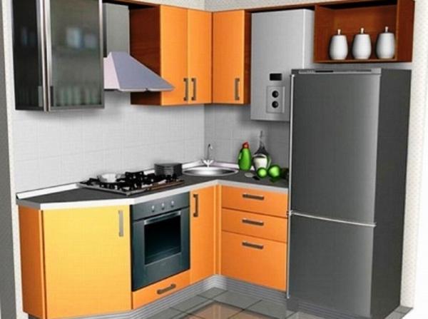 Кухня в хрущевке 6 кв.м дизайн с холодильником и газовой колонкой фото