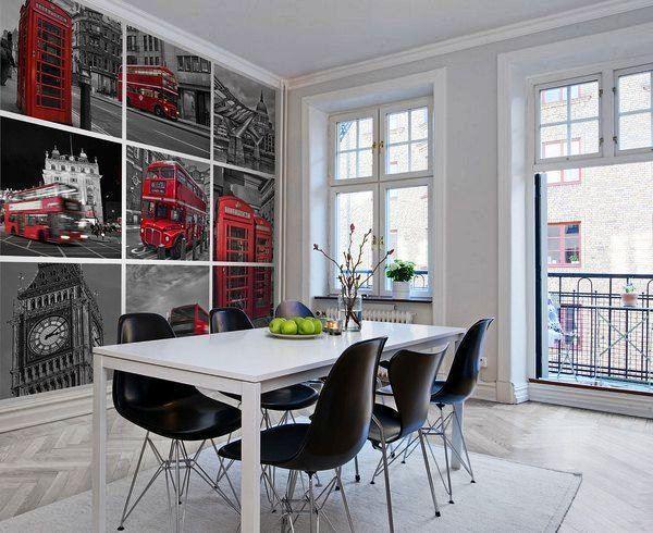 фотообои на кухню возле стола в интерьере фото 4
