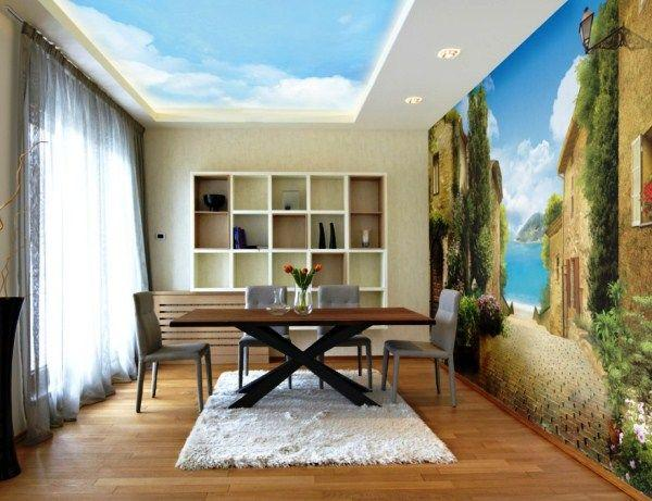 фотообои на кухню возле стола в интерьере фото 6