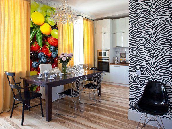 фотообои на кухню возле стола в интерьере фото 7