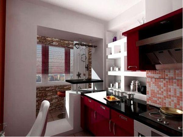 интерьер кухни 10 кв м с балконом фото