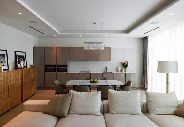 красивые интерьеры квартир фото кухни совмещенной с гостиной фото 8