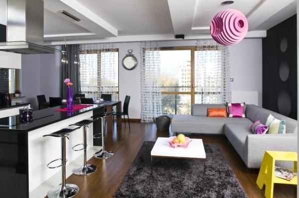 красивые интерьеры квартир фото кухни совмещенной с гостиной фото