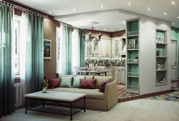 Красивый дизайн совмещенной с гостиной кухни классика фото