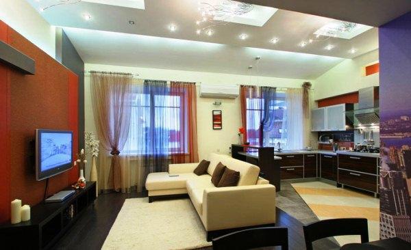 Красивый интерьер кухни гостиной фото 2