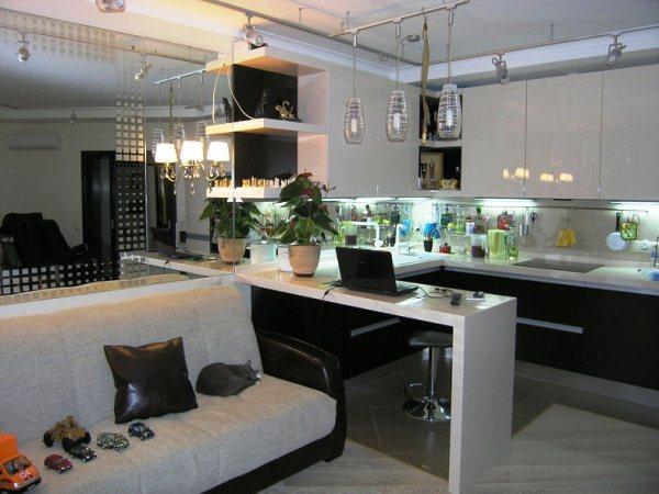 Красивый интерьер кухни гостиной фото 3