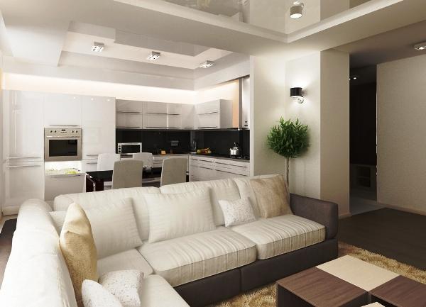 Красивый интерьер кухни гостиной фото