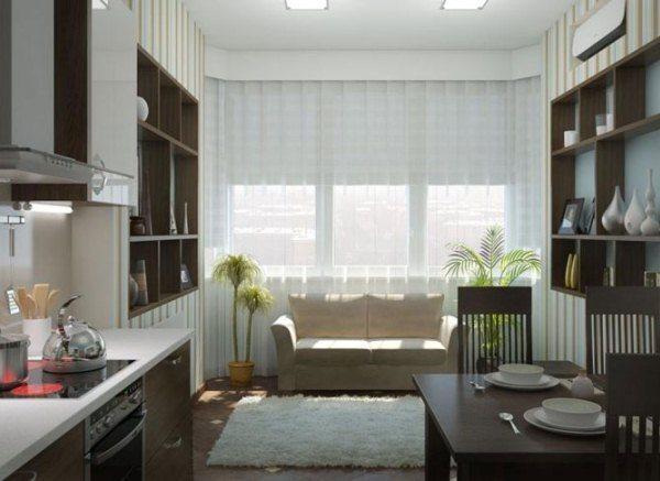 кухня студия 12 кв м дизайн фото