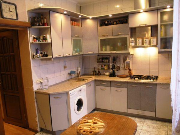 Угловые кухни на 9 кв. метрах фото со стиральной машиной