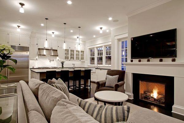 дизайн кухни столовой гостиной в частном доме фото 13