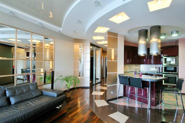 Дизайн гостиной с кухней в доме фото