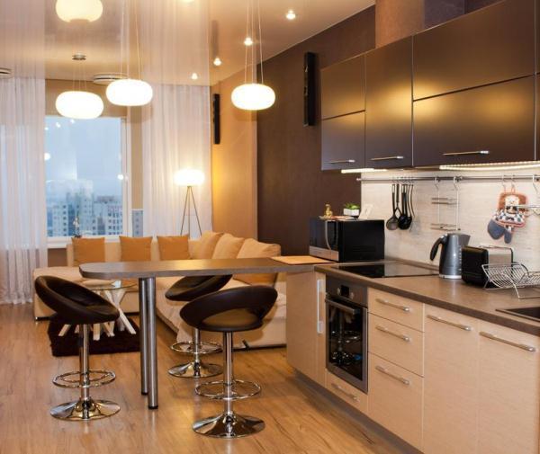 Кухня гостиная 14 кв. м фото